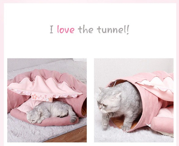 Funny Cat Bed Pet Tent 2 Holes Tunnel